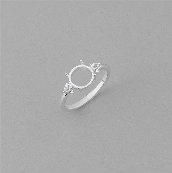 Size 9 - 925 Sterling Silver Ring Round Mount Fits 8mm Inc. 0.15cts White Topaz Brilliant Cut Pears 3x2mm.