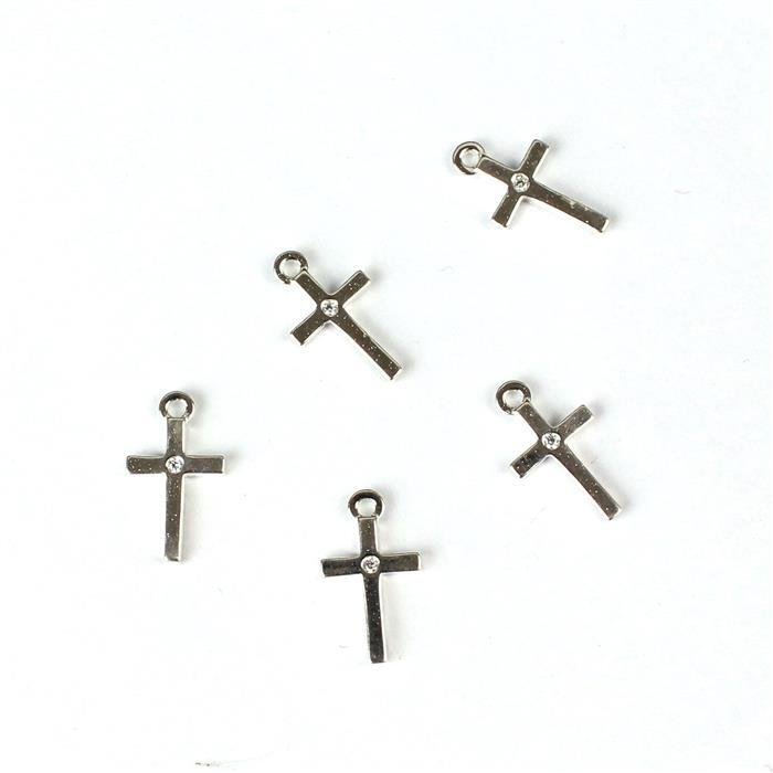 925 Sterling Silver Simple Cross Charms and Cubic Zirconia Approx 6x10mm 5pcs