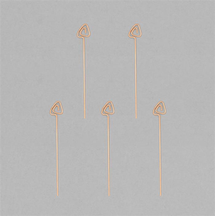 Rose Gold Plated 925 Sterling Silver Arrow Headpins Approx 40x6mm (5pcs)