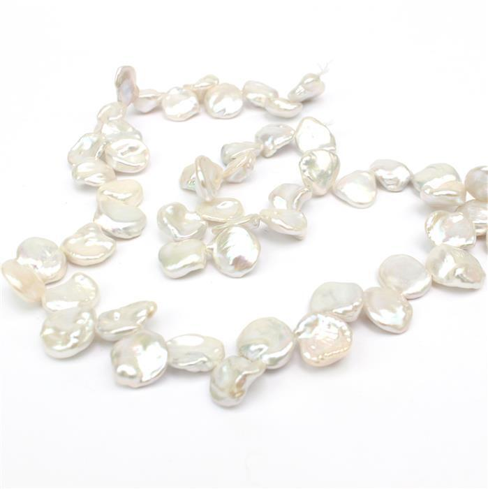 White Freshwater Cultured Keshi Pearl (Top Drilled) Approx 9x11 -9x15mm, 38cm