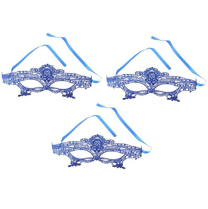 Royal Blue Lace Mask 32x14cm 3pcs/pack