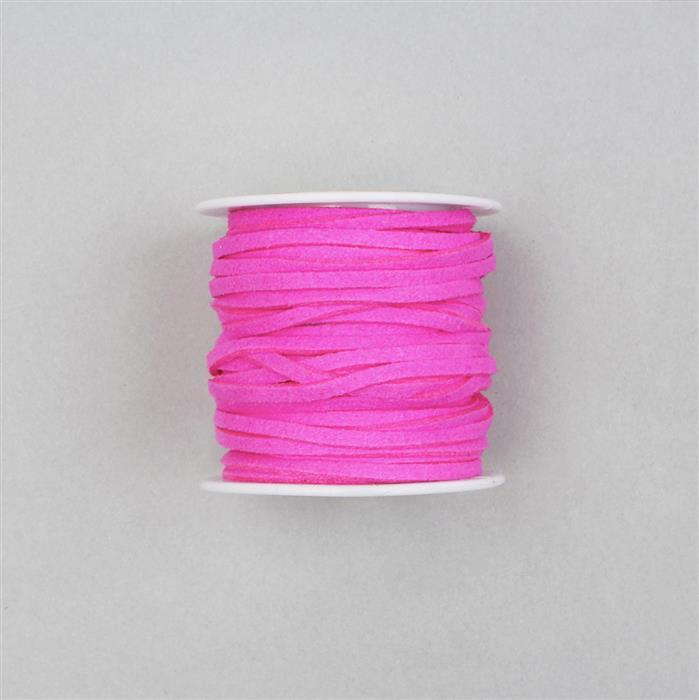 5m Hot Pink Suedette Cord Approx 1.4x2.5mm