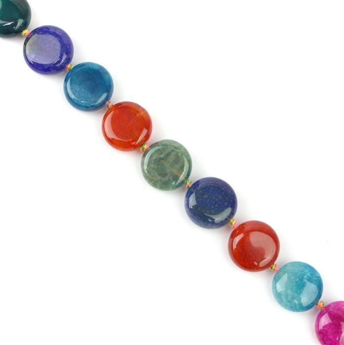 300cts Multi Colour  Agate Coins Approx 16mm 38cm