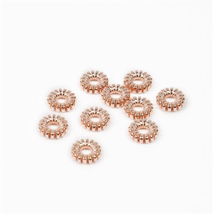 Rose Gold Plated 925 Sterling Silver Flower Spacer Beads Approx 6x2mm, 10 Pcs