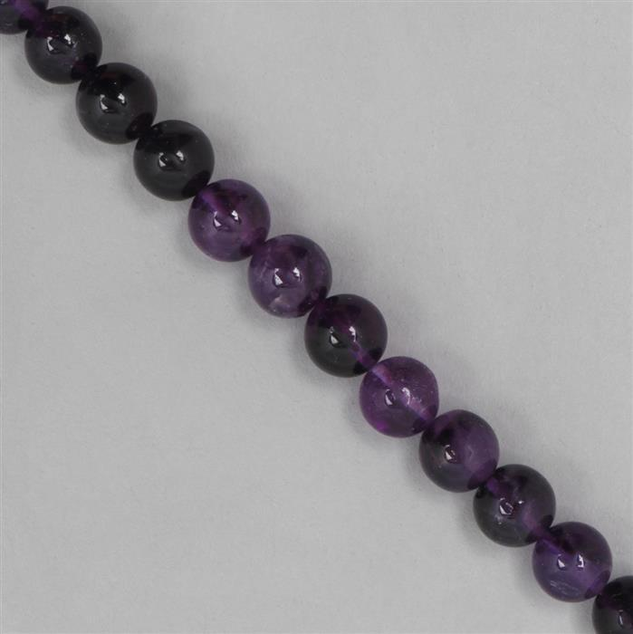 115cts Amethyst Graduated Plain Rounds Approx 7 to 9mm, 17cm Strand.