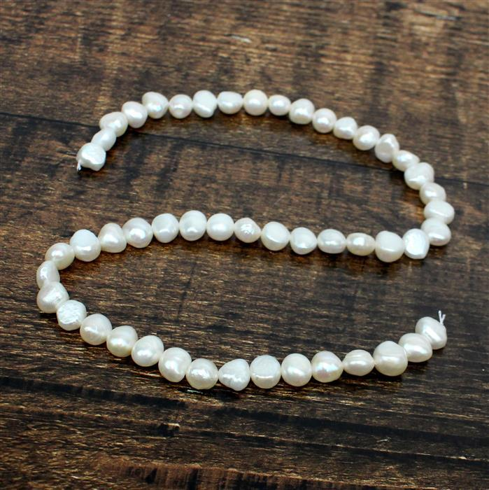 White Freshwater Cultured Pearl Nuggets Approx 7x8 to 8x9mm, 38cm strand