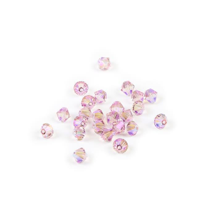 Swarovski Crystal Beads - Pack of 24 Bicone 5328 - 6mm Light Rose Shimmer 2x