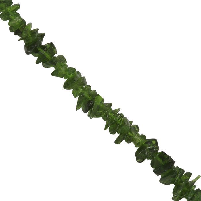 120cts Chrome Diopside Plain Nuggets Approx 3x1 to 8x2mm, 84cm Strand