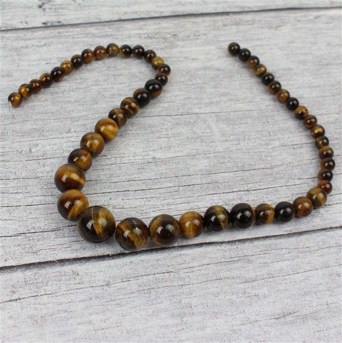 190cts Yellow Tigers Eye Graduated Rounds Approx 6-14mm, 38cm strand