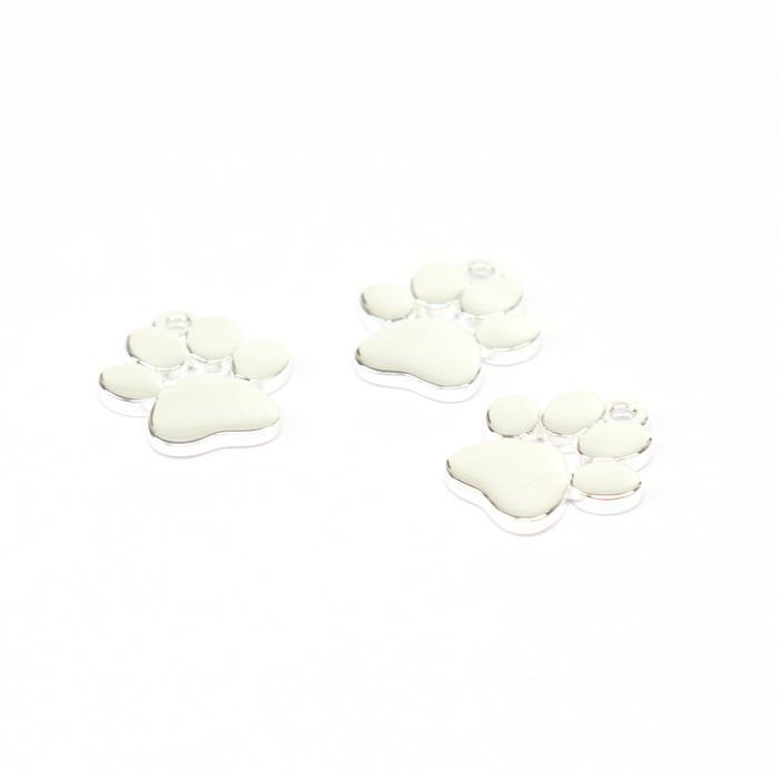 925 Sterling Silver Paw Charms Approx 10x11mm (3pc)
