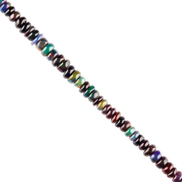 20cts Black Ethiopian Opal Graduated Plain Rondelles Approx 2x1 to 4x2mm, 28cm Strand.