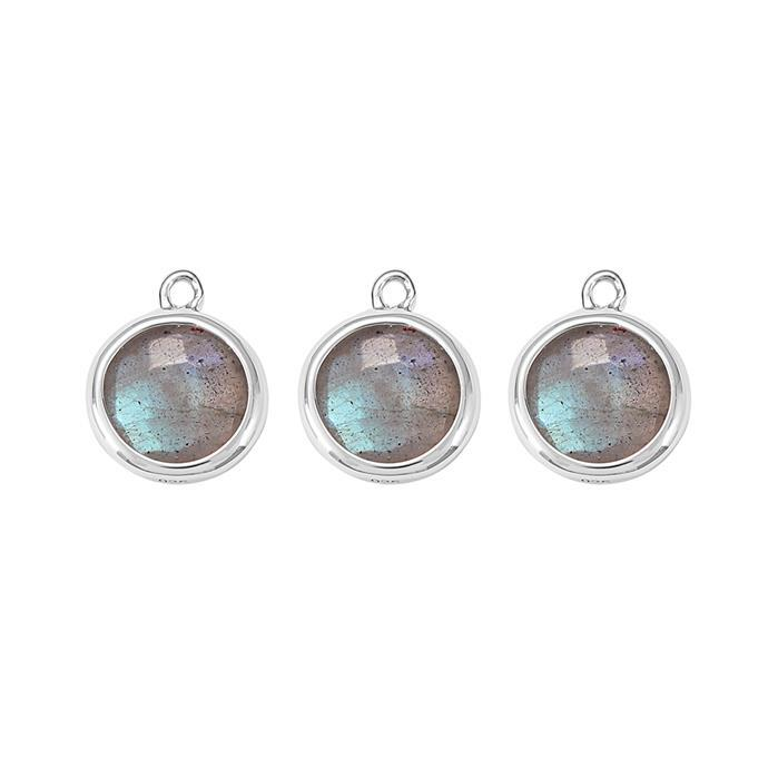 925 Sterling Silver Bezel Charms Approx 12x10mm Inc. 5.40cts Labradorite Briolette Cut Rounds Approx 8mm. (Pack of 3)