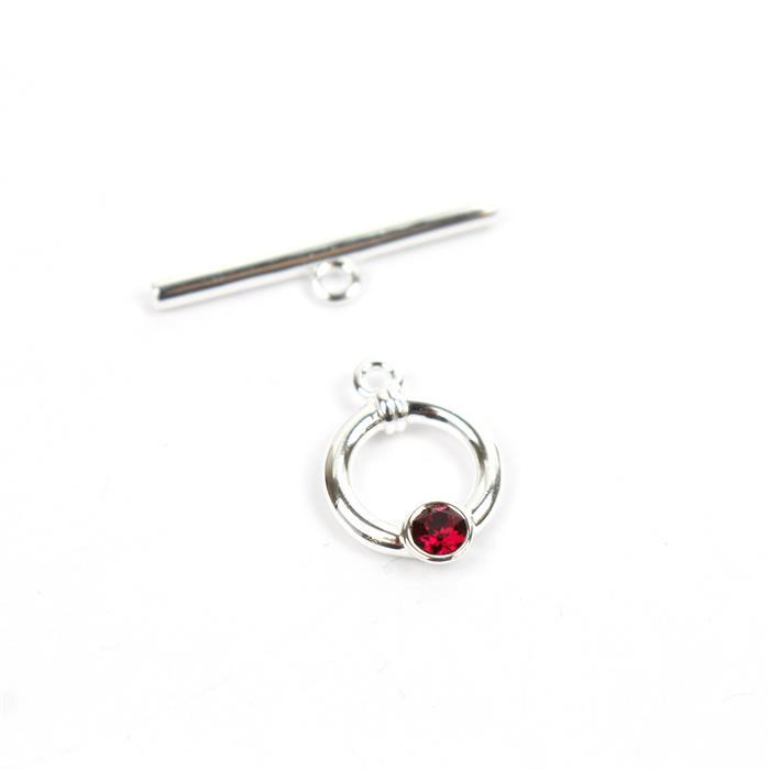 925 Sterling Swarovski Ruby Colour Toggle Clasp Approx 23mm Bar 11mm Ring