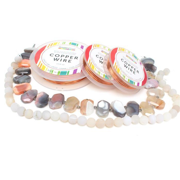 Chunky Treats; 430cts Multicolour Agate Faceted Slabs, 270cts Frosted Druzy Agate & Wire
