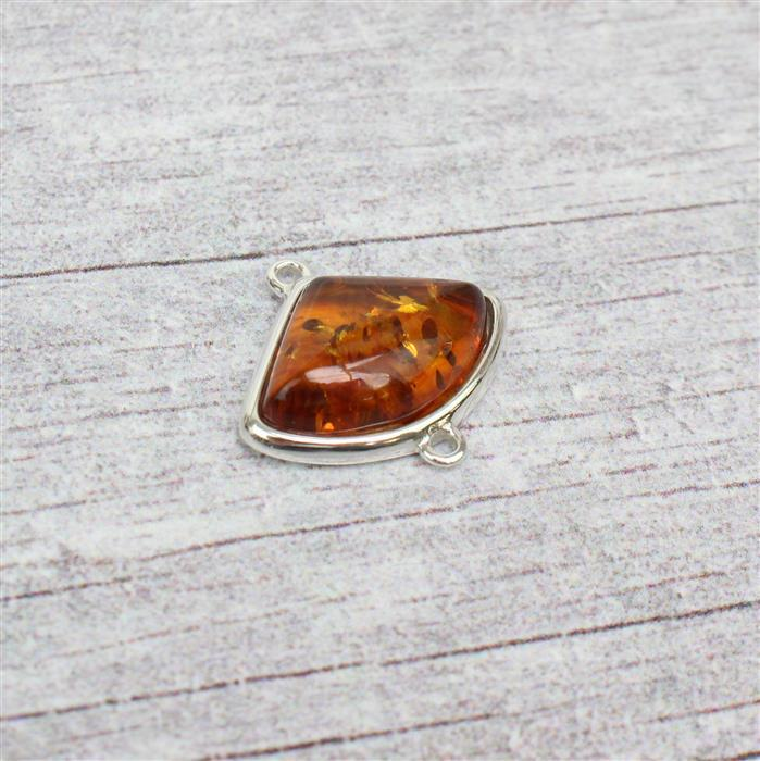 Sterling Silver Baltic Cognac Amber Art Deco Cabochon Connector Approx 20x22mm