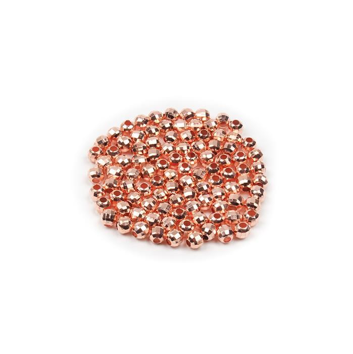 Rose Gold Plated Brass Faceted Beads - 4mm (100pcs/pk)