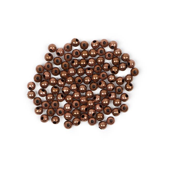 Antique Bronze Plated Brass Round Beads - 4mm (100pcs/pk)