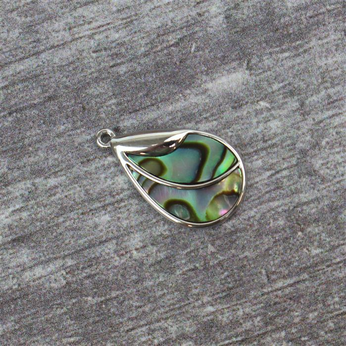 Rhodium Plated 925 Sterling Silver Teardrop Abalone Pendant Approx 18x12mm, 1pc