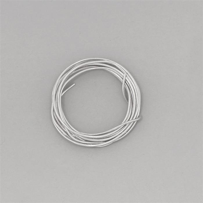 1m White Rhodium Plated 925 Sterling Silver Round Wire Approx 1mm