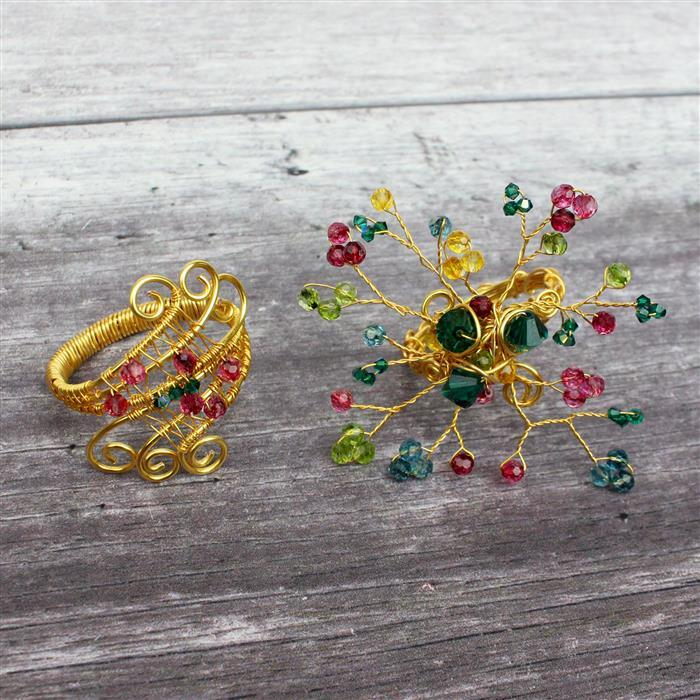 Napkin Rings; 30cts Multi-Colour Quartz Faceted Rounds Approx 4mm, Swarovski & Gold Wire