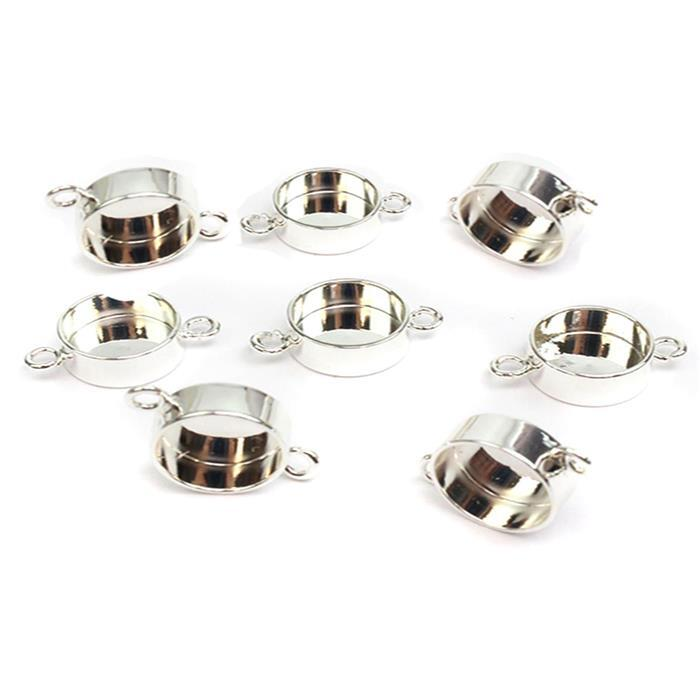 Silver Plated Base Metal Connector Round Bezels, Approx 19x13mm (8pk)