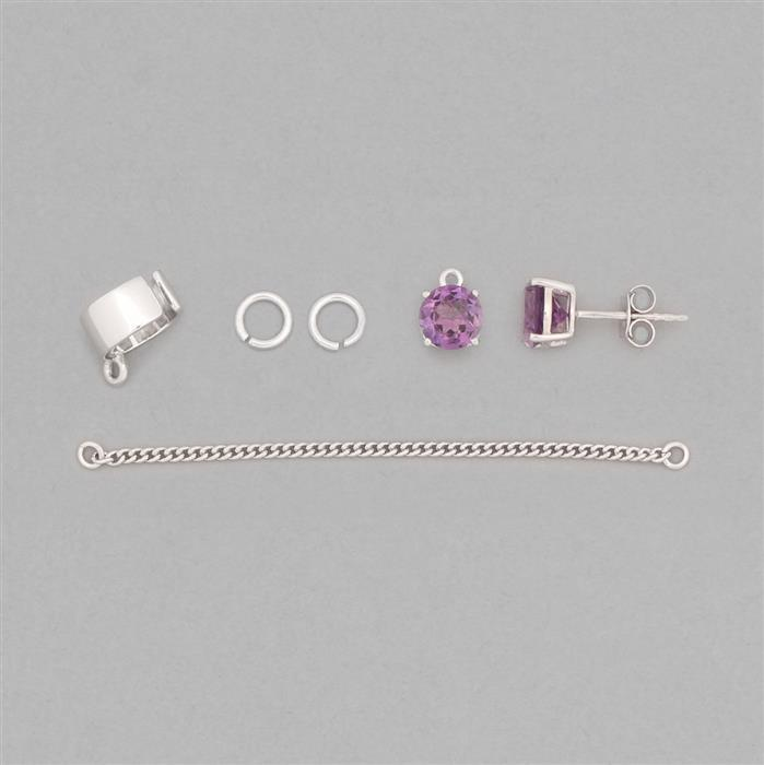 925 Sterling Silver Earcuff Finding Kit Inc. 2.15cts Amethyst