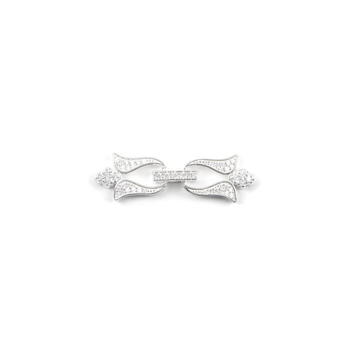 925 Sterling Silver Cubic Zirconia Row Clasp Approx 12x35mm, 1 set