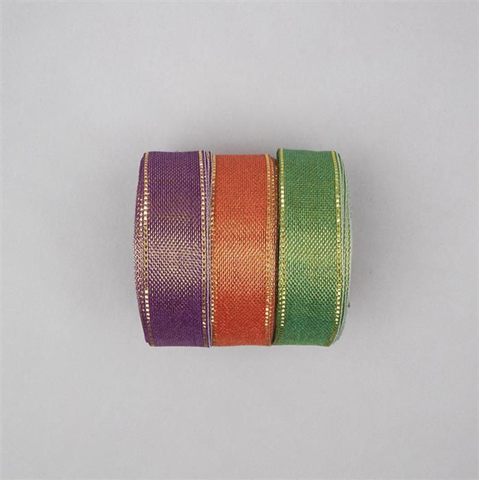 30m Purple, Orange & Green Colour Ribbons width approx 18mm (3pcs)