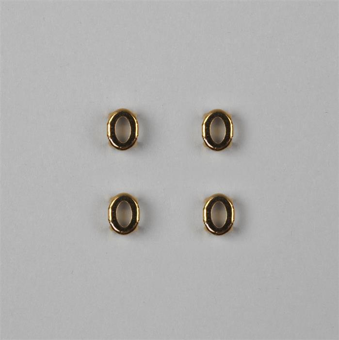 Swarovski Gold Plating Oval Dentelle Setting with 4 Holes & Open Back -8x6mm, 4pk
