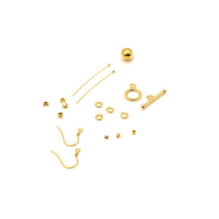 Gold Plated 925 Sterling Silver Multifunctional Findings Pack 17pc