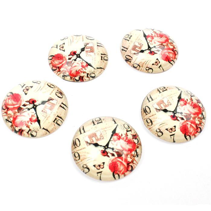 Vintage Floral Clock Glass Cabochons, Approx 25mm (5pcs/pack)