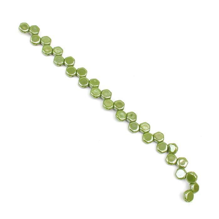 Honeycomb Wasabi Beads Approx 6mm (30PCS/ST)