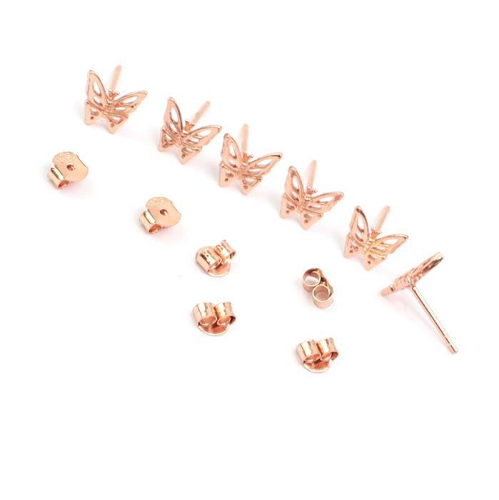 Rose Gold Plated 925 Sterling Silver Filigree Butterfly Earrings Approx 8mm 3 Pairs