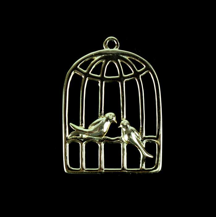 Gold Plated 925 Sterling Silver Love Bird Cage Pendant Approx 20x27mm