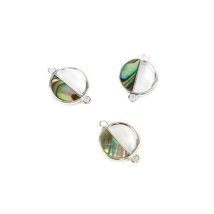 925 Sterling Silver Abalone Semi-Circle Connectors Approx 10x14mm 3pcs