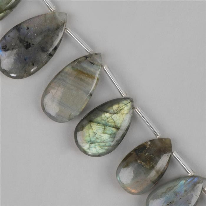 140cts Labradorite Graduated Plain Pears Approx 11x7 to 23x11mm, 17cm Strand.