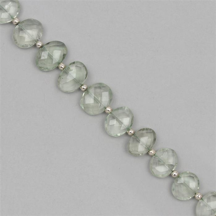 85cts Green Amethyst Graduated Faceted Ovals Approx 9x7 to 14x11mm, 18cm Strand.