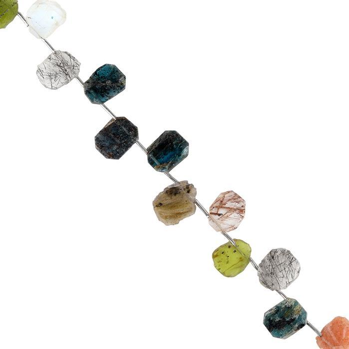 45cts Multi Gemstones Graduated Plain Slices Approx 9x7 to 12x10mm, 18cm Strand.