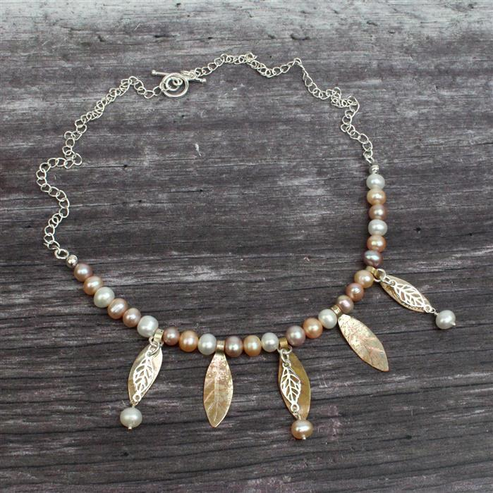 Under the Oak Tree INC Silver Plated Copper Sheet & Multi Colour Pearls