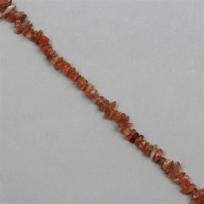 140cts Sunstone Plain Small Nuggets Approx From 2x1 to 9x2mm, 82cm Strand.