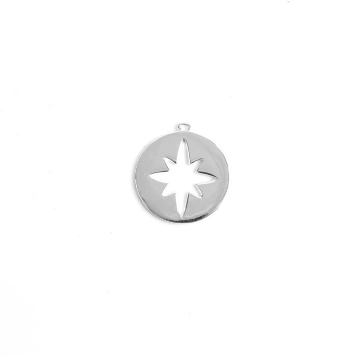 925 Sterling Silver Round North Star Cut Out Pendant Approx 20x22mm