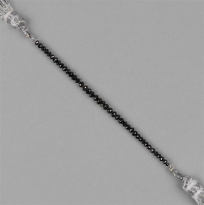 5cts Black Diamond Graduated Faceted Rondelles Approx 2x1 to 3x2mm, 8cm Strand.