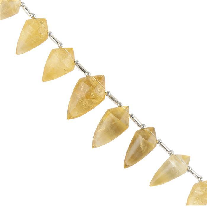 90cts Citrine Graduated Plain Fancy Drops Approx 16x9 to 20x11mm, 10cm Strand.