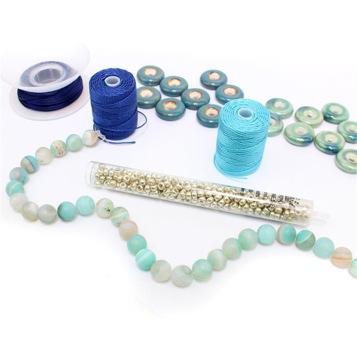 Blue Bird; Ceramic Donuts 16pcs, 250cts Sky Blue Striped Frosted Agate, Miyuki Seebeads & Nylon