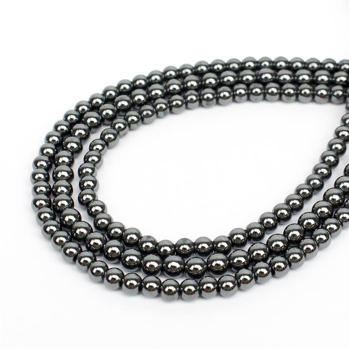 Gemma's Project Show! Inc; 3 x 65cts Haematite Plain Rounds Approx 4mm, 28cm Strand