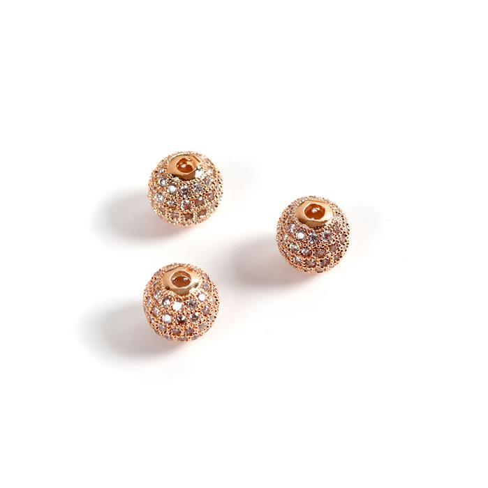 Rose Gold Plated Base Metal CZ Round Beads, 10mm (3pk)