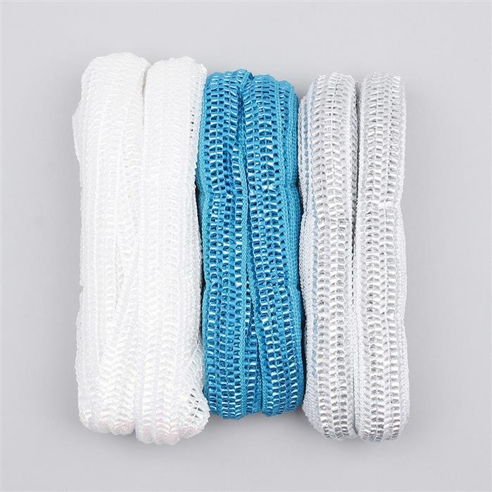 30m Mystic White, Silver & Blue Colour Knitted Ribbons Width Approx 22mm (3pcs)