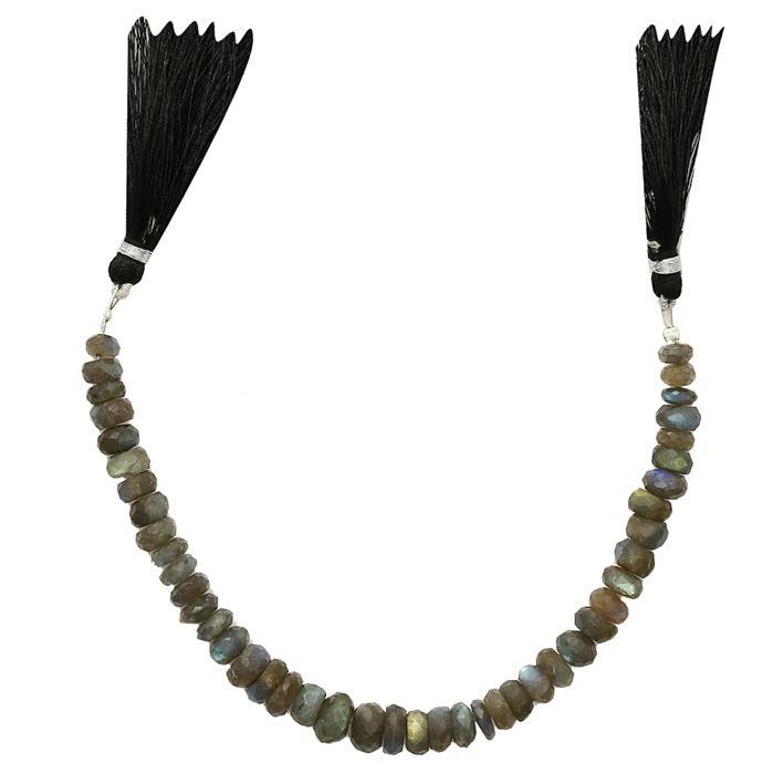 85cts Labradorite Graduated Faceted Rondelles Approx 4x2 to 9x4mm, 16cm Strand.