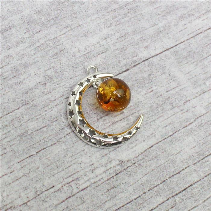 Baltic Cognac Amber Sterling Silver Moon and Stars Pendant Approx 21x25mm