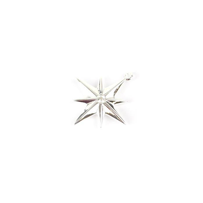 925 Sterling Silver Star Pendant With Clear Cubic Zirconia, Approx 18mm, 1pc